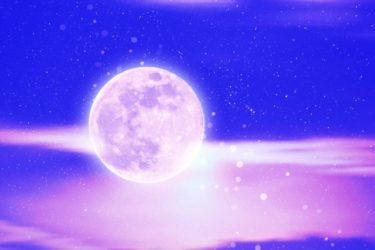 紫の星空背景の満月