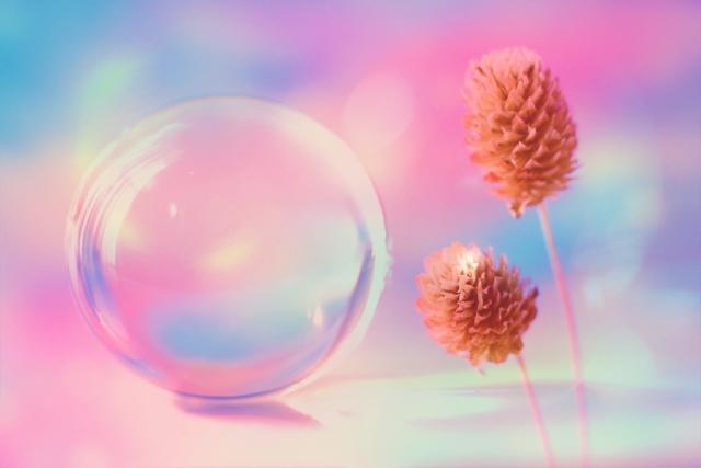 水晶とお花
