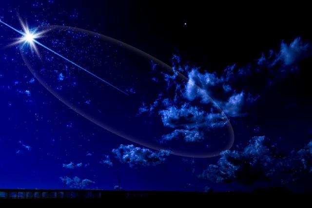 星空背景と流星